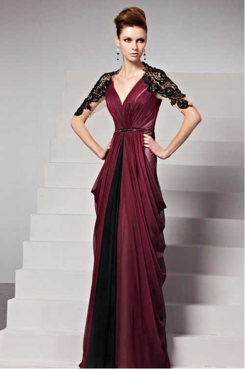 Elegant Couture Maroon Bridesmaid Dress with Blooming Lace ...