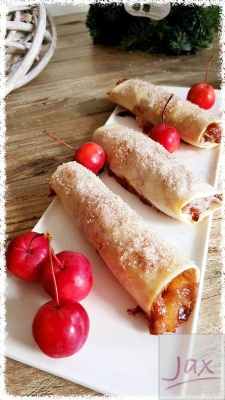 Appeltaartloempia's (apple pie spring rolls)