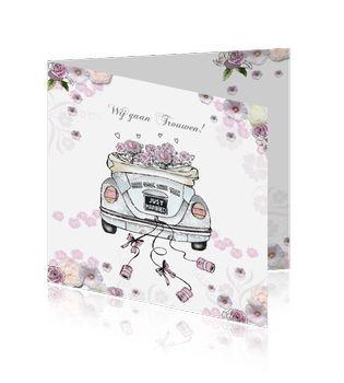 Originele #trouwkaart met #vw #beetle #trouwauto en roze bloemetjes. #kever Te vinden op http://www.mycards.nl/trouwkaarten/originele-trouwkaarten/