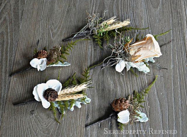 Serendipity Refined: Flowers for an Autumn Wedding: Pinecones, Roses, Burlap and Cotton
