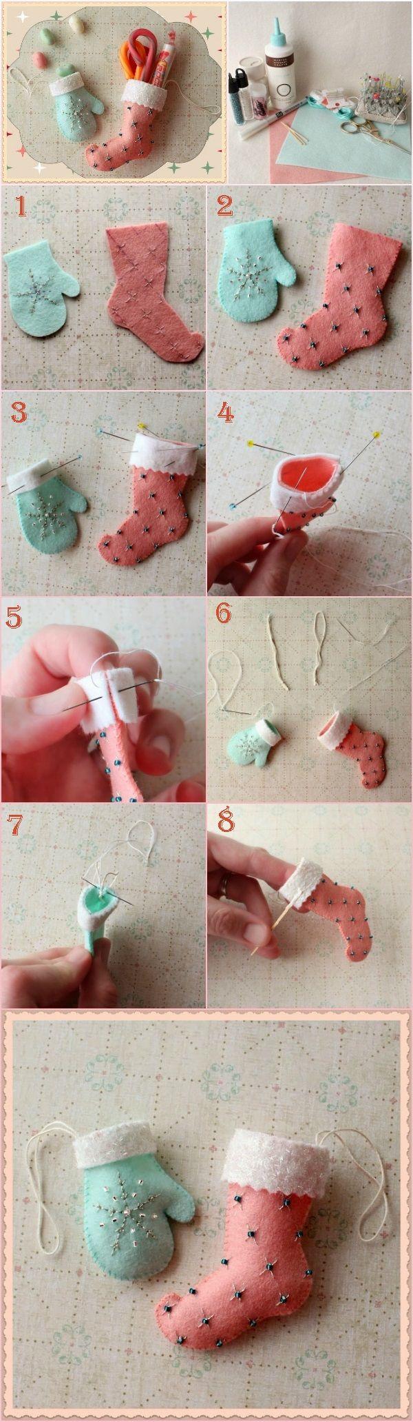 Christmas Stocking and Glove Ornaments   DIY Fun Tips