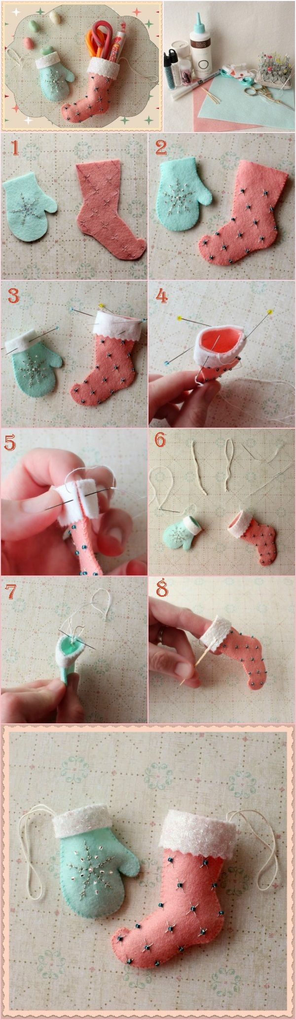 Christmas Stocking and Glove Ornaments | DIY Fun Tips