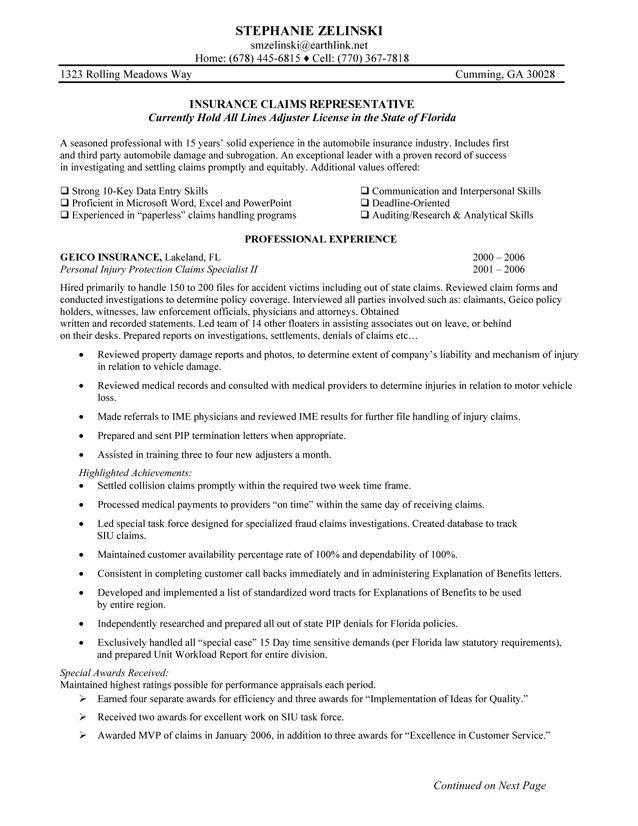 Insurance Claims Representative Resume Sample #049 - http://topresume.info/2014/11/04/insurance-claims-representative-resume-sample-049/