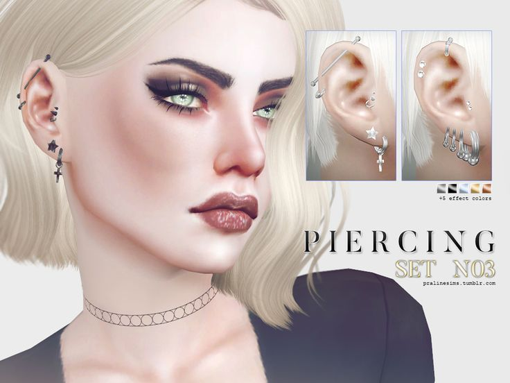 Piercings for male and female sims in 25 colors. (5 base colors, 5 effects).  Found in TSR Category 'Sims 4 Female Earrings'