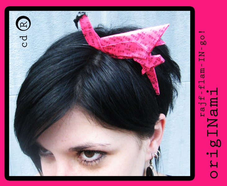 Originami flamingo is a hairband, made of paper in origami technique and laquered to be firm and longlasting
