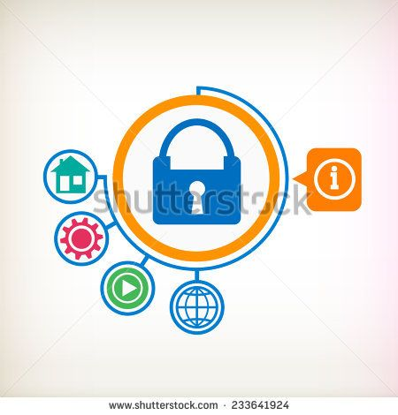Lock on abstract background. Flat design for the web, print, banner, advertising.