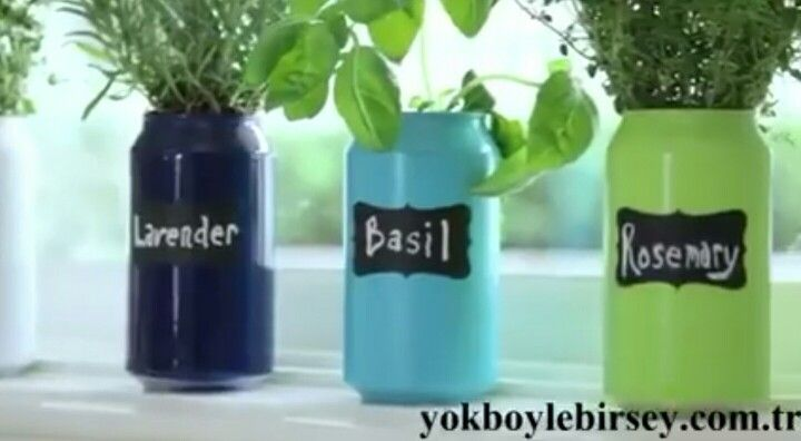 Cute Idea For Small Herb Garden Make Pots Out Of Soda Cans Simply Use Can Opener To Remove Top