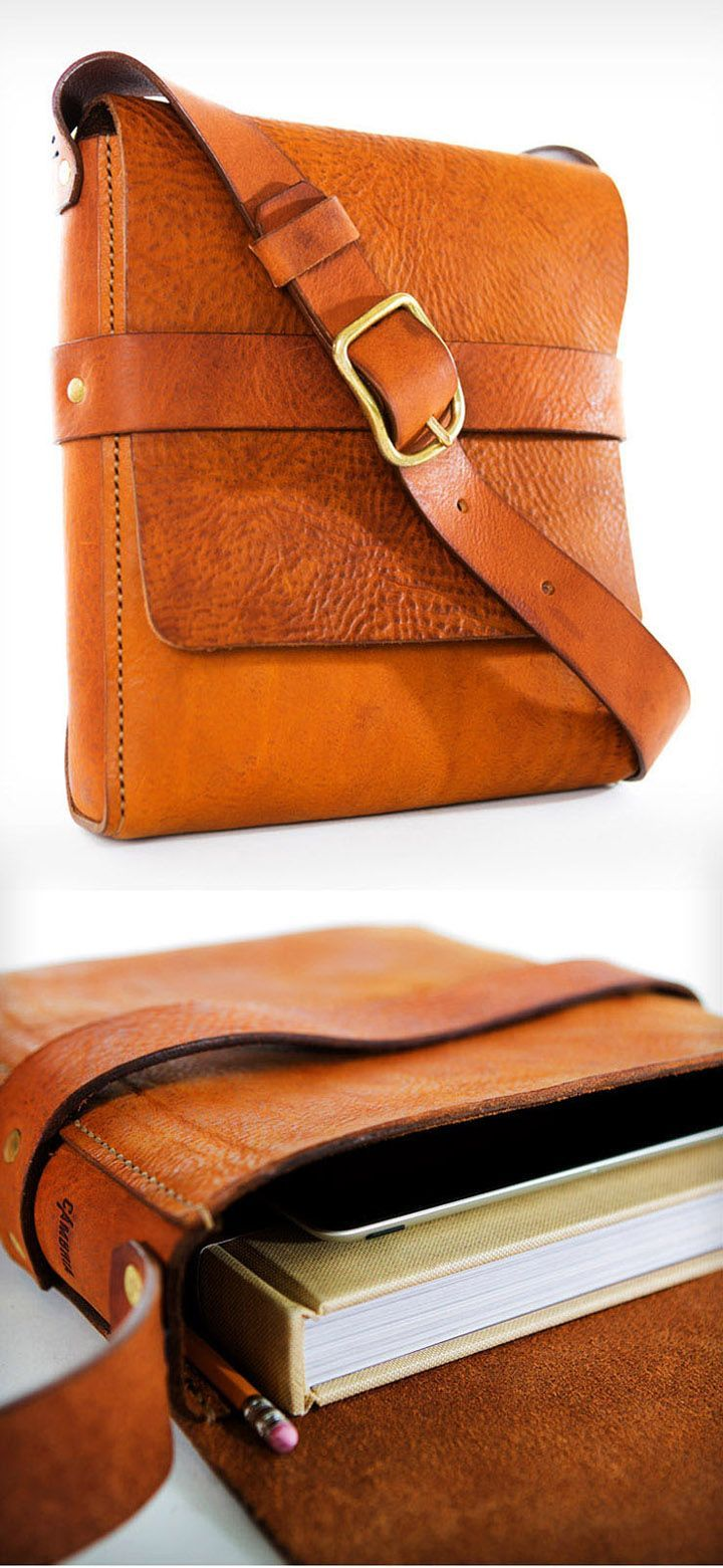 ANNA' LEATHER BRIEFCASE-or : Brown Messenger Bag