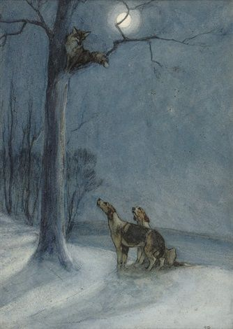 Fox and hounds at night by George Vernon Stokes
