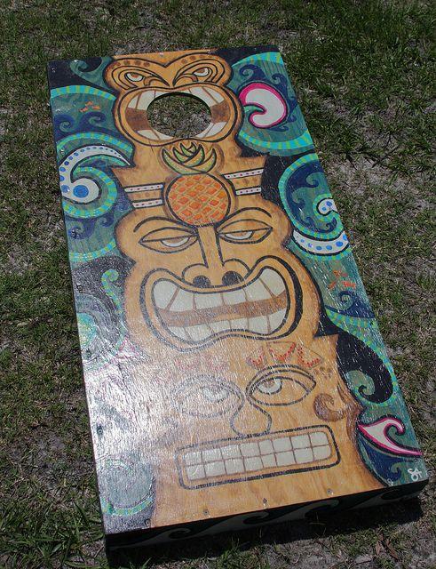 Tiki Cornhole Boards - awesome