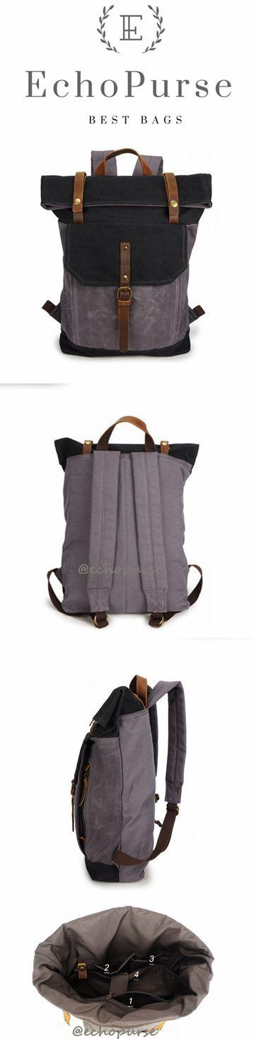 Vintage Canvas Backpack For Man, Gray And Black Waterproof Travel Rucksack YD191