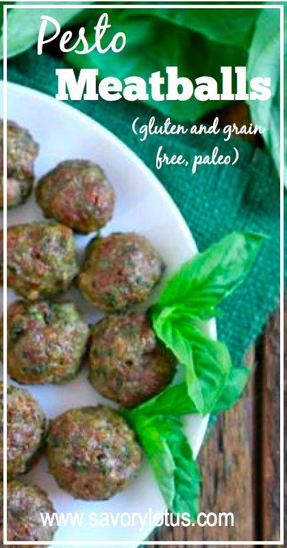 Pesto Meatballs (gluten and grain free, Paleo) - savorylotus.com #meatballs #paleo #recipes #realfood