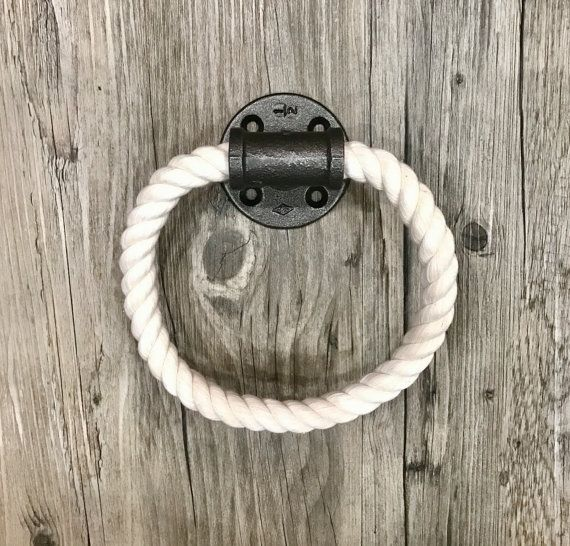 White Cotton Rope Towel Holder Industrial Towel Ring by Lulight