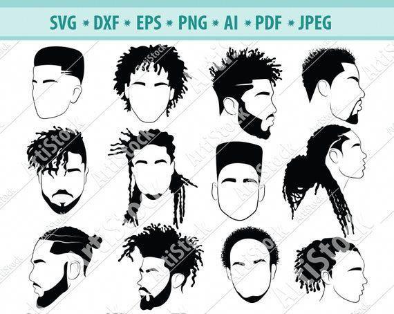 Afro Hairstyles Svg Black Man Bundle Svg Hair Dreadlocks Etsy In 2020 Afro Hair Drawing Boy Hair Drawing Afro Hairstyles