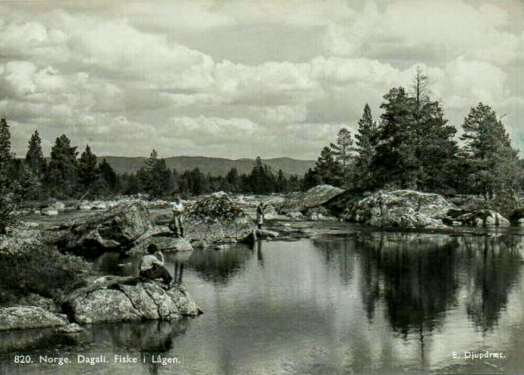 Buskerud fylke Hol kommune Dagali fiske i Lågen 1950-tallet utg Djupdræt