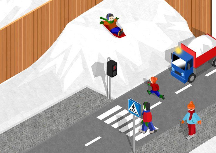 www.liikenneturva.fi Tien ylittäminen kuva, liittyy Jalankulkijan kortti - alakoulun liikenneturvaopetusta.