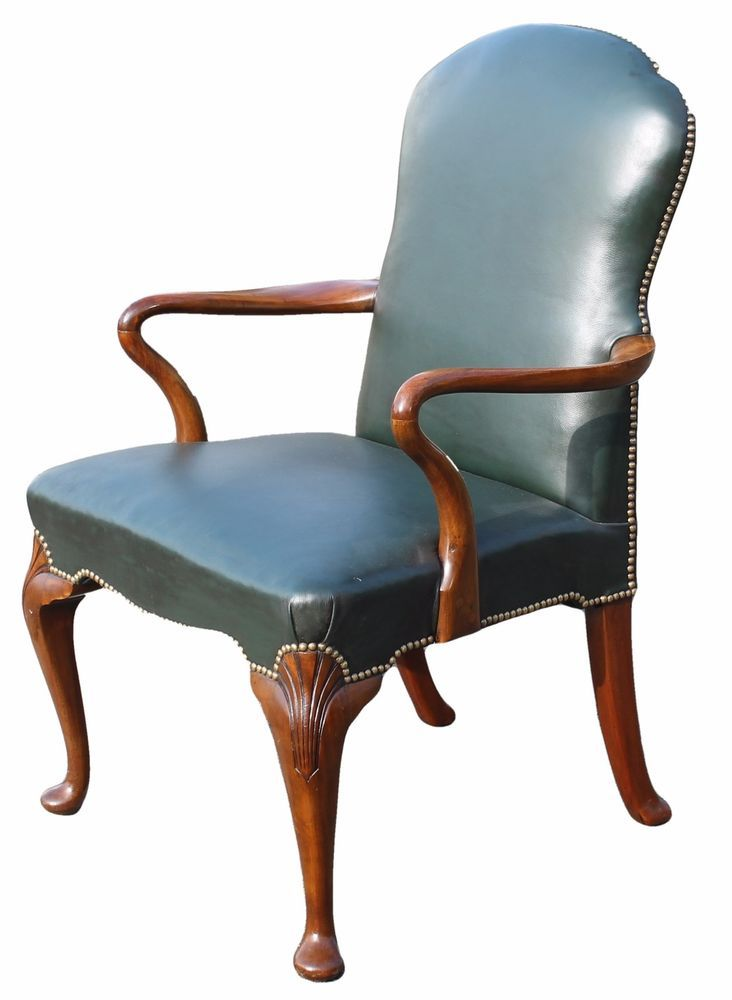georgian antique style green studded leather desk chair with shaped arms