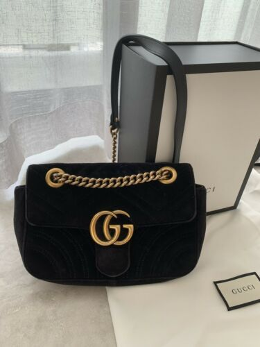 09c5aba89582 Details about Gucci GG Marmont Velvet Mini Black Shoulder Hand Bag ...