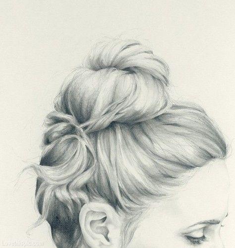 pencil sketch updo hair girl art