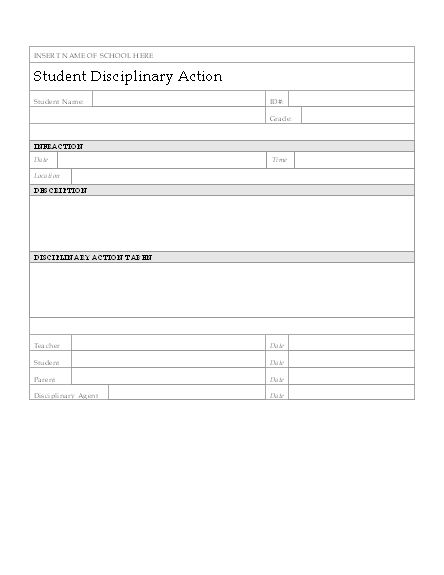 student disciplinary action form