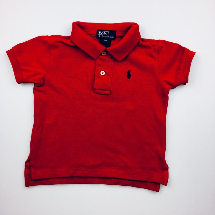 POLO by RALPH LAUREN, red, short-sleeved polo t-shirt, good pre-loved condition (GUC), size 12 months, $11