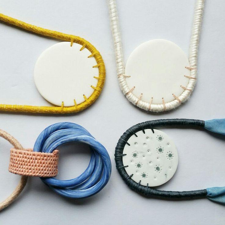 New porcelain pendants with different fibres and techniques.