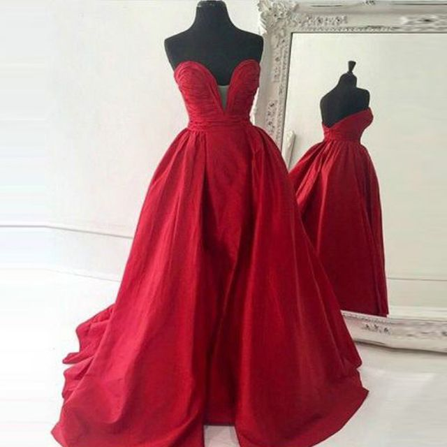 Sweetheart red satin A-line long prom dress, cheap plus size bridesmaid dress…