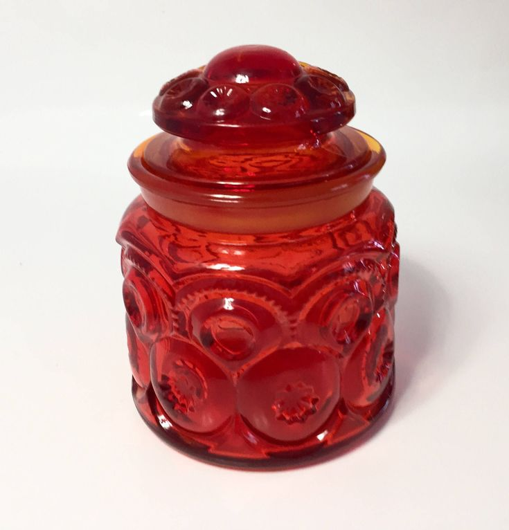 Amberina Moon and Stars Glass Canister, LE Smith Red Glass Storage Jar with Lid, Glass Cookie Jar, Coffee Canister, Tea Canister by TheHeirloomVintage on Etsy