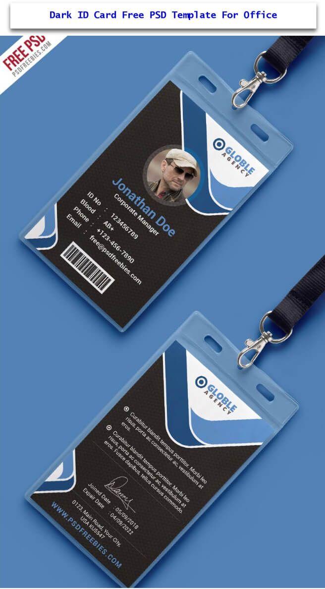 dark id card free psd template