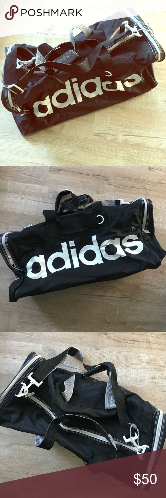 Retro Adidas soccer bag in excellent condition Soccer bag with retro style in great condition. Some small signs of wear but very little. Large center pocket and two side pockets that fit shoes or coat. Shoulder strap and two hand straps to carry. Adidas Bags Travel Bags