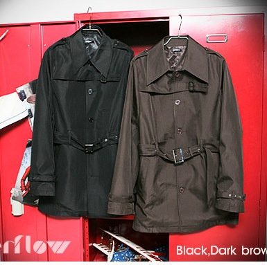 "Men's black slim fitting ""casual style"" jet black trench coat."
