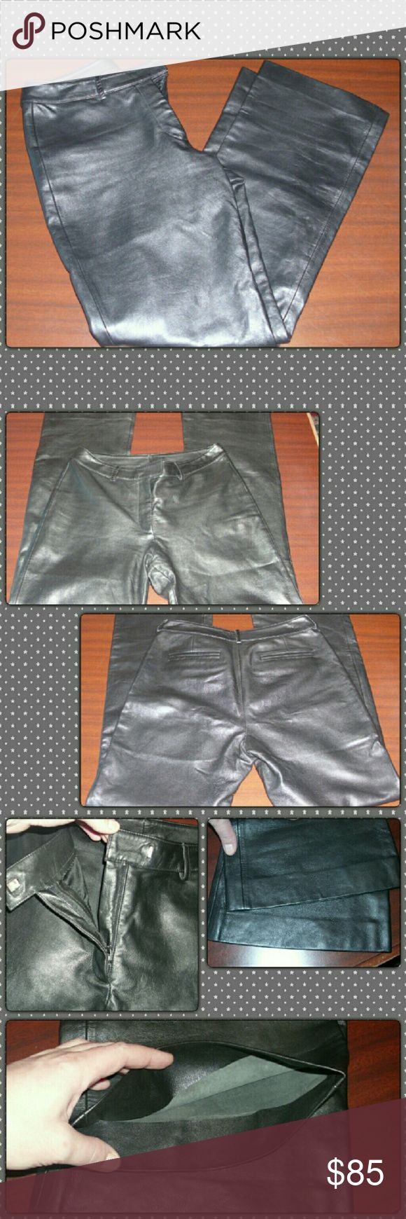 """🎉🎉ALL PRELOVED BOGO 50% OFF!!🎉🎉 Super soft 100% leather pants. Only imperfection is a slight discoloration of metal hook closure as pictured but does not affect the hook what so ever. Leather is in excellent condition. Only have worn once. They are a size 8. Waist is 30""""  Inseam is 29"""" they have a 10"""" rise. Super comfortable!! Feel free to ask any questions or request additional pictures! VS2 Pants"""