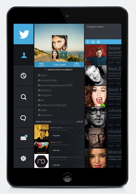 #Twitter #App #Design | #ui #ux #web #mobile #flat #ios #ipad #inspiration #design, #uxdesign, #gui, #uidesign
