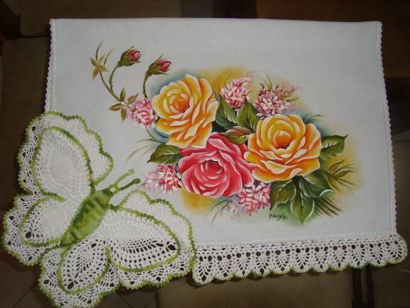 Pano de copa-17 | Artes em Crochê e Pintura | DEE5A - Elo7