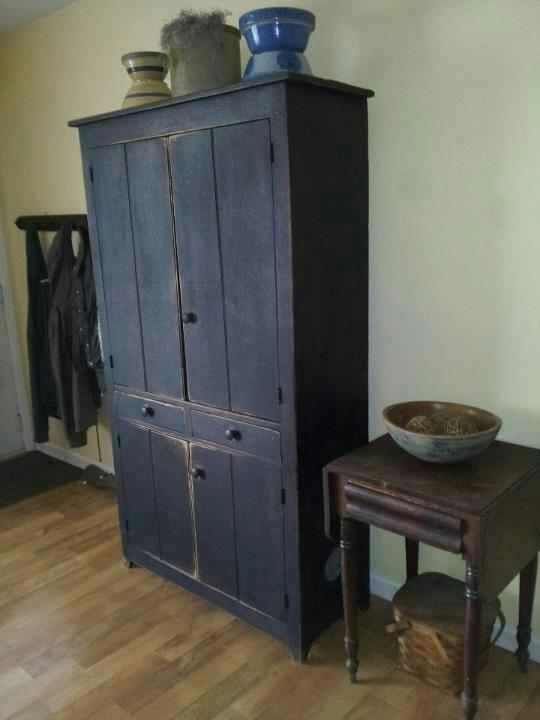 Love the blue cupboard - 1288 Best Primitive Cupboards Images On Pinterest Country