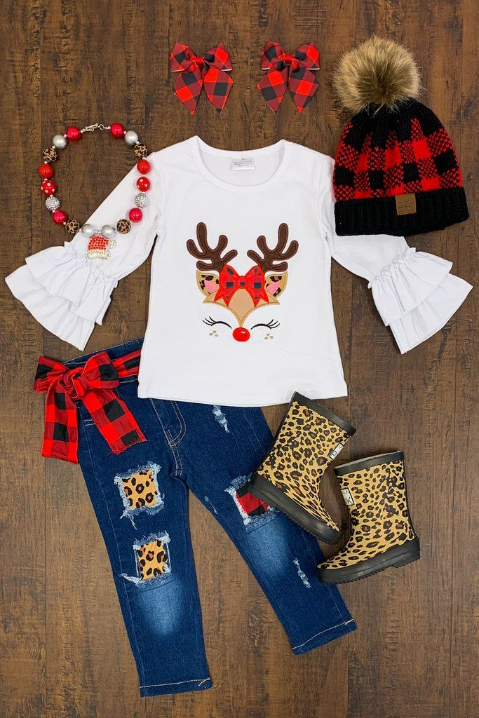 Reindeer Kitty Denim Pant Set - RESTOCKED!* | Girls ripped ...
