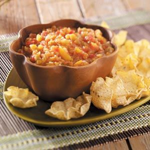 Fresh Peach Salsa Recipe - Note to Self:  Replace Peach with Nectarines and replace canned green chili with fresh Jalapeno or Serrano peppers.