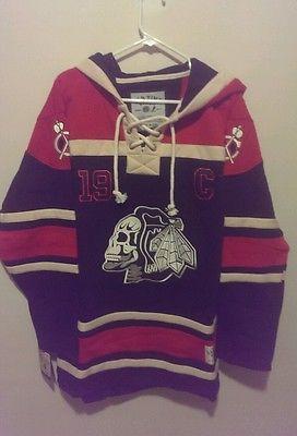 NEW! NHL Hockey playoffs Jonathan Toews Chicago Skull Blackhawks Hoodie Jersey