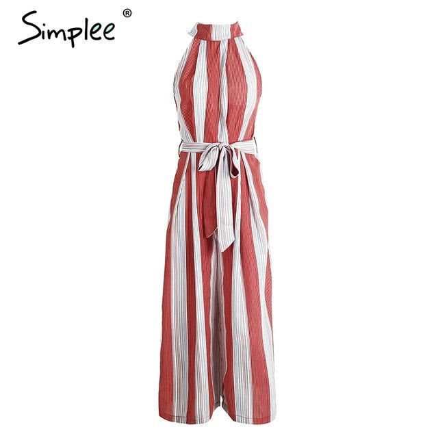 0af79b70179f Halter backless red stripe sexy jumpsuit romper Summer bow sleeveless long  overalls Elegant beach women outfit Halter backless red stripe sexy jumpsuit  ...