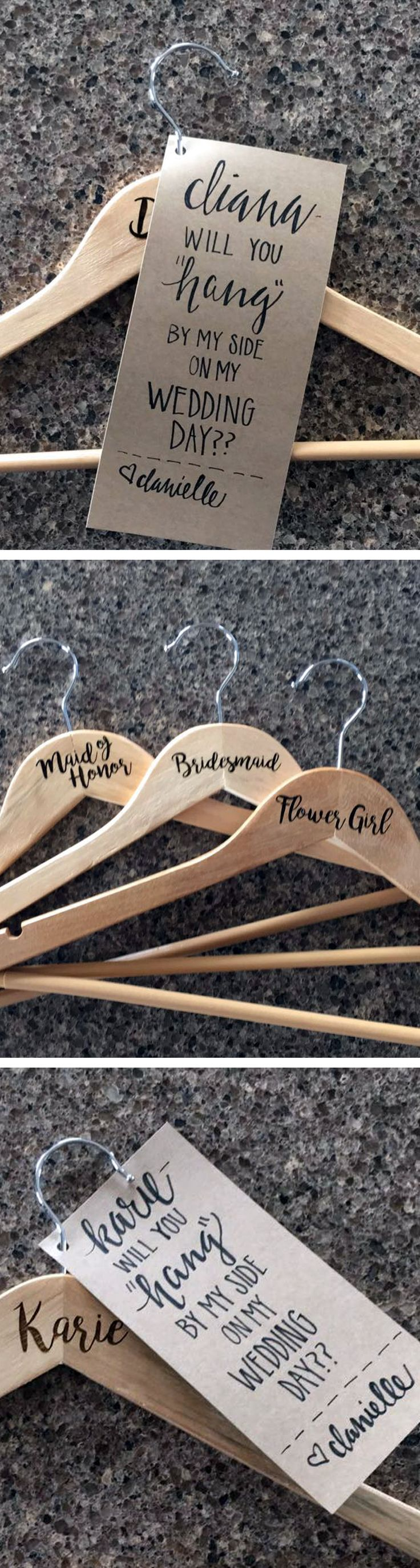 """Will You Hang by My Side"" Hangers for Bridesmaid Proposals  by Molly Meester Designs"