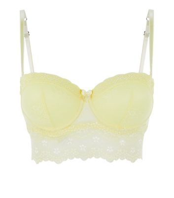 Yellow Lace Longline Strapless Bra