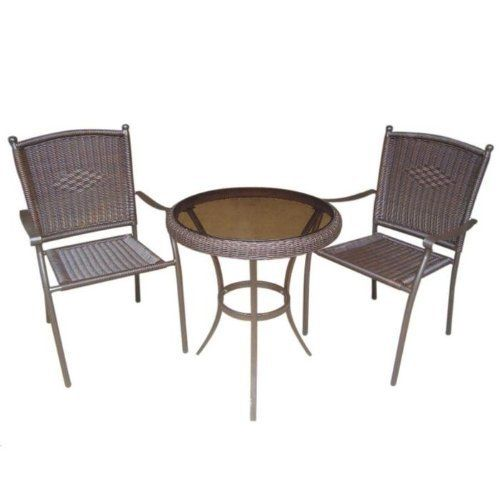 DC America SSR183, 3 Piece. All Weather Resin Wicker Bistro Set, Tubular Frame Includes 2 Chairs and 1 Table with Tempered Glass by DC America. Save 14 Off!. $239.00. Two chairs and a table. ship by truck-LTL. Tempered glass top on table. All weather resin wicker bistro set. Attractive outdoor furniture. DC America #SSR183, 3 Piece. All Weather Resin Wicker Bistro Set (Tubular frame) Includes 2 Chairs and (1) Table with Tempered Glass. Everybody loves to sit outdoors on the lawn, deck, or...