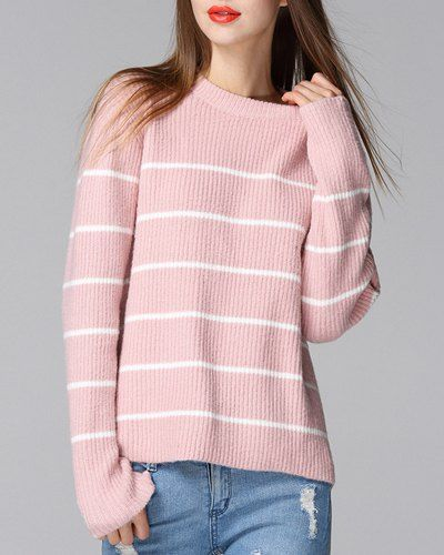 Trendy Round Neck Long Sleeve Loose-Fitting Stripe Sweater For Women