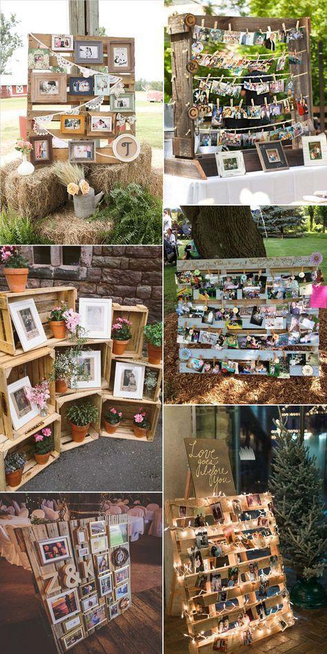 Rustikale Hochzeitsfotos und Holzpaletten inspirierten Ausstellungsideen
