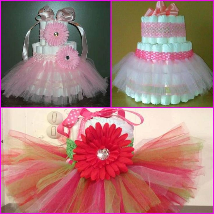 Tutu Diaper Cake with matching flower by JonisTutusAndMore on Etsy, $40.00