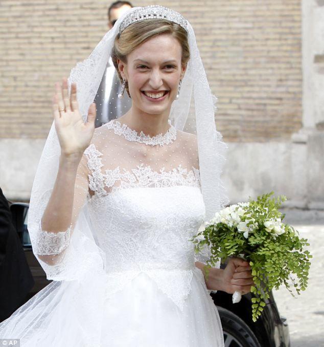 Elegant: Elisabetta Maria Rosboch von Wolkenstein beams as she arrives for her wedding wit...