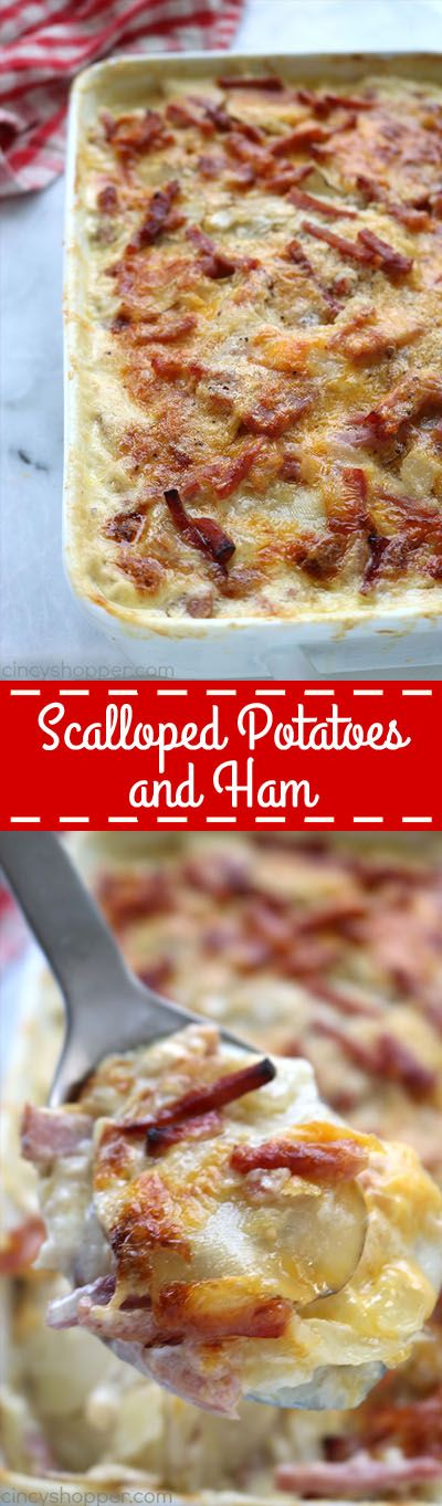 Scalloped Potatoes and Ham - a perfect casserole dish to serve up as a meal or side dish. You will find them loaded with lots of cream, cheese, and flavor. Great use of leftover holiday ham.