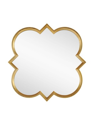 Sample of gold accent mirror for above lovely existing desk - nice with wheat color scheme and brings even more light & brightness into the room.      Quatrefoil Mirror by MIRROR IMAGE HOME on Gilt Home.