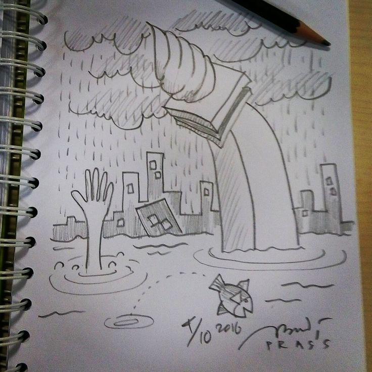 Turut prihatin dengan #banjir yg melanda sebagian wilayah #jakarta 4-10-2016.     #iseng #sketch #pencil #sketsa #sketsapensil #karikatur #caricature #pencilsketch #menggambar #gambar #ilustrasi #ilustration #sketching #drawing #genangan #hujan #rain #flood #city #monas #monumennasional #flooding #cataclysm #overflow #deluge #water #spate #prasssketch