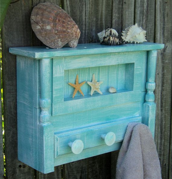 Beachy Bathroom Shelf Towel Hanger Cottage